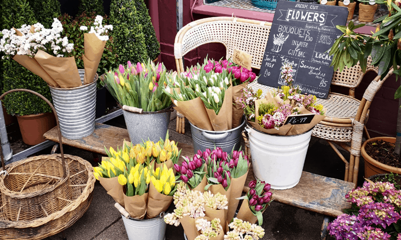 This is an image of a florist with an array of colourful flowers.
